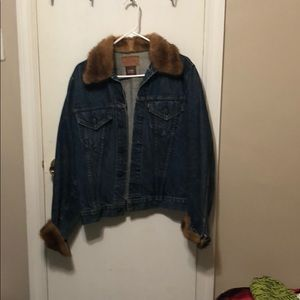 Vintage Levi Denim Jacket w/genuine mink